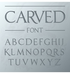 Carved font engraved on wall modern realistic vector