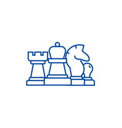 chess horse rook pawn queen line icon concept vector image