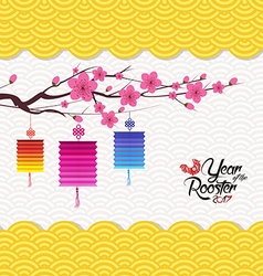 Chinese new year 2017 lantern pattern background vector