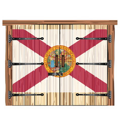 Closed barn door with florida flag vector