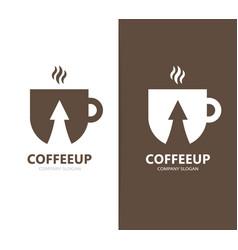 coffee and arrow up logo combination vector image