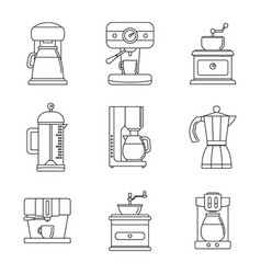 Coffee maker pot espresso icons set outline style vector