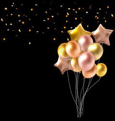 color glossy happy birthday balloons banner vector image