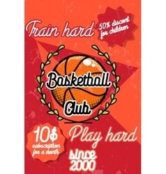 Color vintage basketball poster vector image