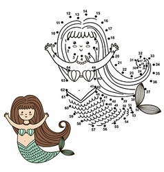 Connect the dots to draw the cute mermaid vector