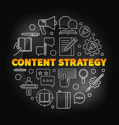Content strategy round colored linear vector