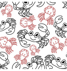 crab pattern seamless design template vector image