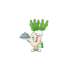 Cute daikon as a chef with hat and tray cartoon vector