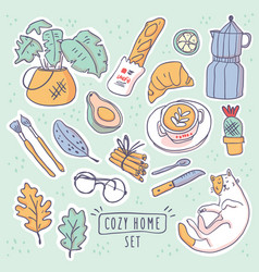 cute stickers set hygge vector image