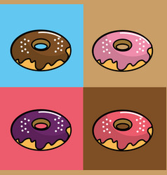 Donuts of differents flavors background vector