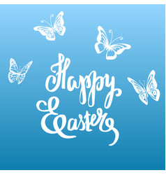 Easter vintage card with butterflies and vector