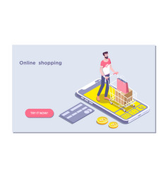 Ecommerceonline store shopping cart icon vector