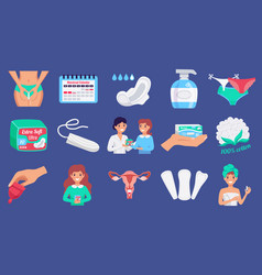 feminine hygiene flat set vector image
