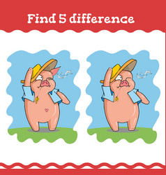 find five difference education games with three vector image