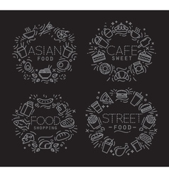 Food monograms black vector image