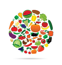 fruit and vegetable circle vector image