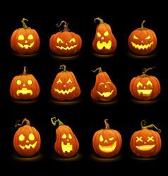 Halloween pumpkins faces glowing in darkness vector