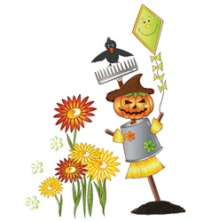 Halloween scarecrow autumn vector image