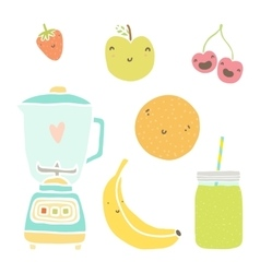 Hand drawn isolated fruits blender and vector
