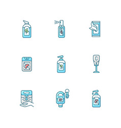 Hand sanitizers blue rgb color icons set vector