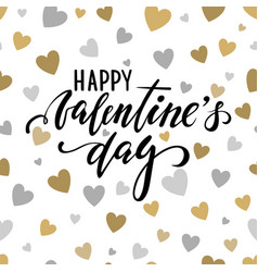 happy valentines day hand drawn calligraphy and vector image