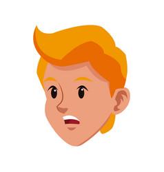 Head blond boy sad young avatar vector