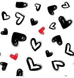 Heart dry brush seamless modern pattern vector