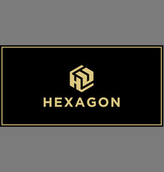 hu hexagon logo design inspiration vector image