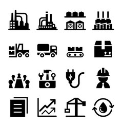 Industrial factory icon set vector