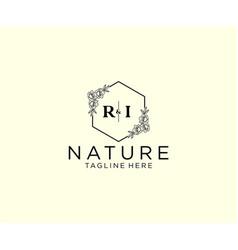 Initial ri letters botanical feminine logo vector