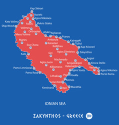 Island of zakynthos in greece red map vector