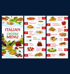 Italian cuisine menu template italy food vector