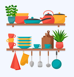 kitchen shelves with cooking tools set kitchen vector image