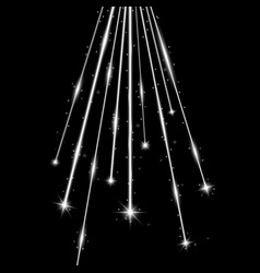 laser beams with stars and sparks white color vector image