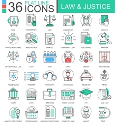 law and justice color flat line outline vector image
