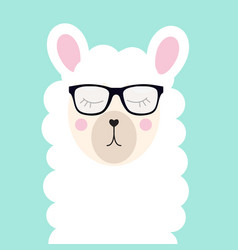 little cute llama with glasses for card and shirt vector image