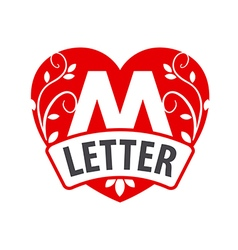 Logo in the shape of a heart with the letter M vector