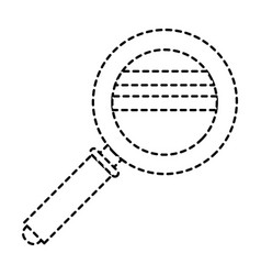 magnifying glass icon in black dotted silhouette vector image