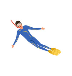 male diver with a scuba diving suit and flippers vector image