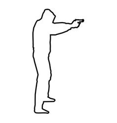 Man in the hood with gun concept danger vector