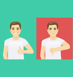 man showing thumb up and thumb down vector image