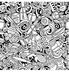 manicure hand drawn doodles seamless pattern vector image
