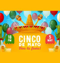 mexican fiesta party sombrero maracas and drinks vector image