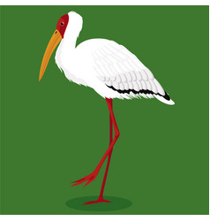 Milky stork cartoon bird vector