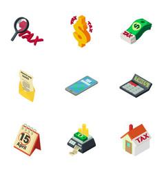 money tax icons set isometric style vector image