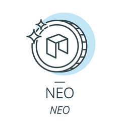 Neo cryptocurrency coin line icon of virtual vector