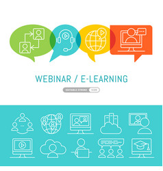 Online webinar or seminar with cartoon people vector