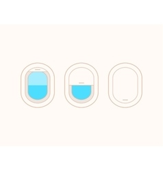 Open and closed airplane window icons vector