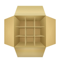 Open empty corrugated cardboard packaging box vector image