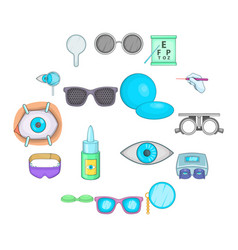 ophthalmologist icons set cartoon style vector image